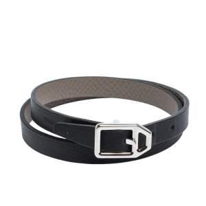 Hermes Bicolor Leather Double Tour Paddock Reversible Bracelet T3