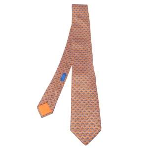 Hermes Bright Orange Octopus Fiction Classic Silk Tie