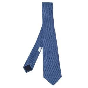 Hermes Blue Cog Print Classic Silk Jacquard Tie