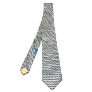 Hermes Yellow & Blue Geometric Print Traditional Silk Tie