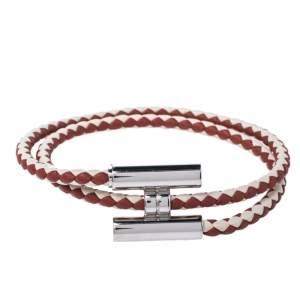 Hermes Tournis Tresse Bicolor Woven Leather Palladium Plated Bracelet