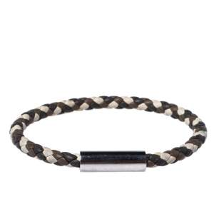 Hermès Multicolor Braided Leather Palladium Plated Goliath Bracelet