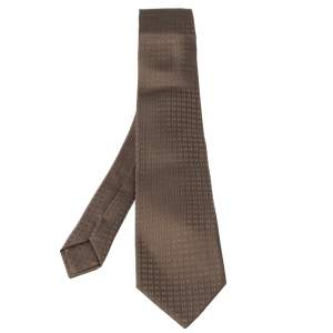 Hermès Brown Faconnee H Silk Jacquard Tie