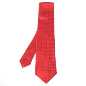Hermès Red Faconnee H Silk Jacquard Tie