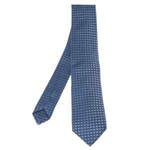 Hermes Thalassa Blue Faconnee H Silk Jacquard Tie