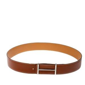 Hermes Tan/Brown Box and Togo Leather Idem Reversible Belt 90CM