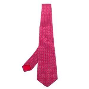 Hermes Pink Printed Silk Classic Tie