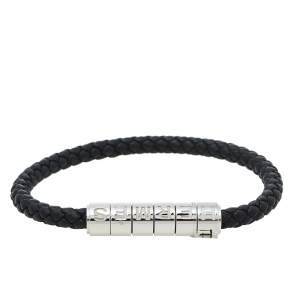 Hermès Black Braided Leather Goliath Code Bracelet