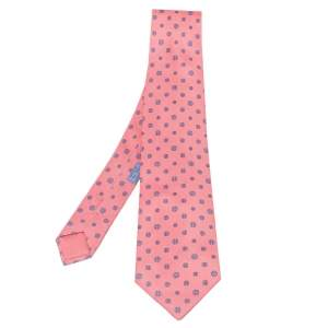 Hermes Pink Curved H Print Silk Classic Tie
