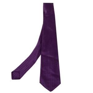 Hermès Purple Faconnee H Silk Tie