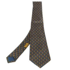 Hermes Blue & Yellow Pineapple Print Silk Tie