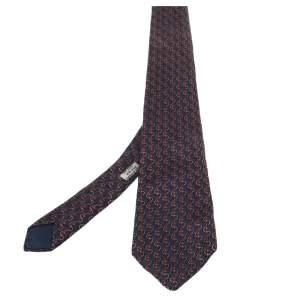 Hermés Blue & Red Anchor Print Silk Tie