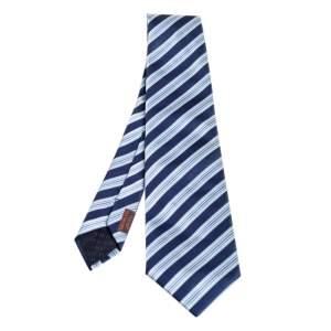 Hermes Navy Blue Striped Silk Tie