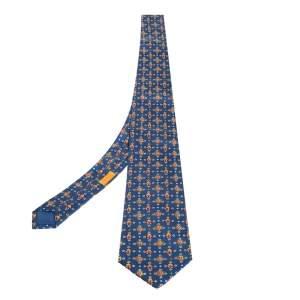 Hermes Blue Printed Silk Traditional Tie