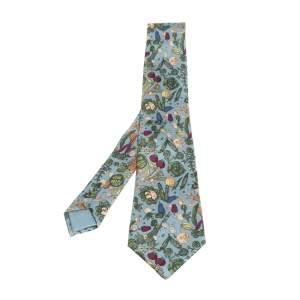 Hermès Powder Blue Vegetable Print Silk Tie