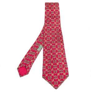 Hermes Vintage Vermillion Rope Pattern Print Silk Tie