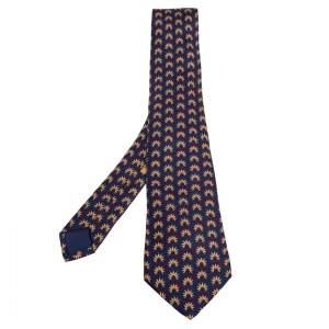Hermes Navy Blue Indian Feather Headdress Print Silk Tie