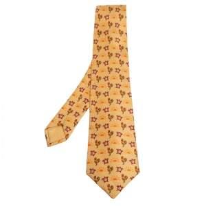 Hermes Yellow Rooster & Clock Print Silk Tie