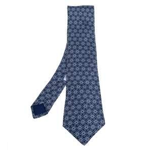 Hermes Navy Blue Geometric Print Silk Tie