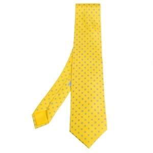 Hermes Yellow H Tonneau Print Silk Tie