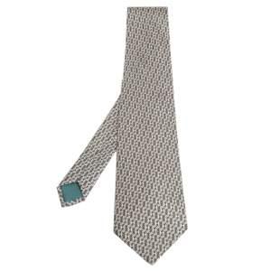 Hermes Beige & Pale Green H Pattern Silk Tie