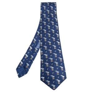 Hermès Navy Blue Elephant & Mouse Print Silk Tie