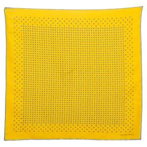 Hermès Yellow Printed Silk Pocket Square