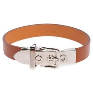 Hermès Brown Leather Palladium Plated Java 10 Bracelet M