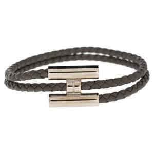 Hermes Tournis Tresse Grey Woven Leather Palladium Plated H Bracelet