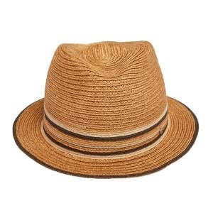 Hermes Brown Striped Detail Hemp Claudio Hat (59)