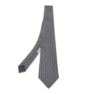 Hermès Grey Chaine d'Ancre Print Silk Tie
