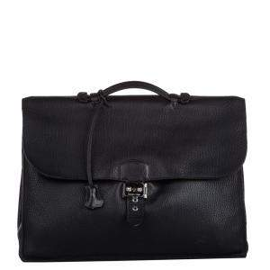 Hermes Black Leather Togo Sac a Depeches 41 Bag