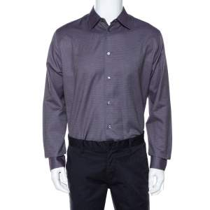 Hermes Purple Cotton Jacquard Long Sleeve Shirt L