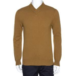 Hermes Tan Brown Rib Knit Cashmere Long Sleeve Sweater M