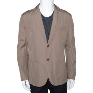 Hermes Dark Khaki Cotton Light Weight Two Buttoned Jacket XL