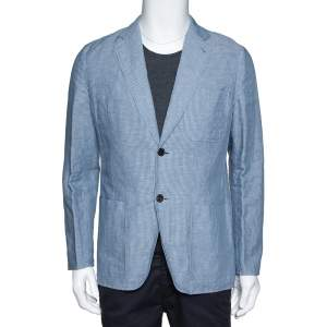 Hermes Pale Blue Striped Linen Cotton Two Buttoned Jacket L