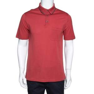 Hermes Brick Red Cotton Pique Polo T-Shirt M