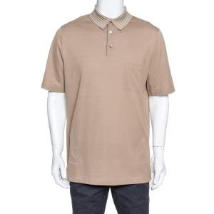 Hermes Beige Cotton Pique Striped Collar Polo T-Shirt XXL