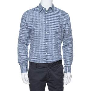 Hermes Blue Printed Linen & Cotton Long Sleeve Shirt M