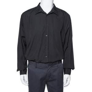 Hermes Black Cotton Button Front Long Sleeve Shirt 5XL