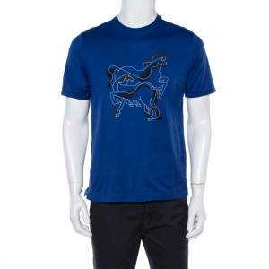 Hermes Blue Brazilian Horse Print Cotton Crew Neck T-Shirt M