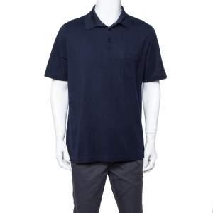 Hermes Navy Blue Cotton Pique Polo T Shirt XXL