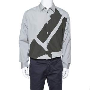 قميص هيرمس أزرار أمامية أبليك مغاير قطن رمادي XL