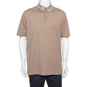 Hermes Brown Cotton Pique Striped Collar Polo T-Shirt XXL