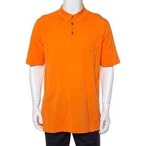 Hermes Orange Cotton Pique Polo T-Shirt XXL