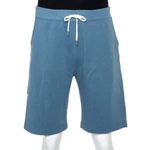 Hermes Blue Cotton Contrast Trim Detail Jogging Shorts XL