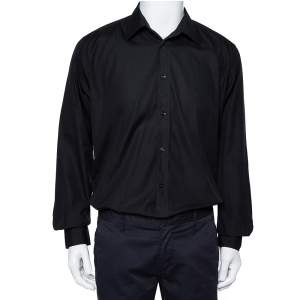 Hermes Black Cotton Button Front Long Sleeve Shirt L