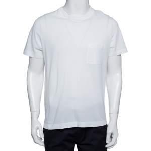 تي شيرت هيرمس مزين جيب مطرز شعار الماركة بيكيه رقبة مستديرة قطن أبيض مقاس كبير (لارج)