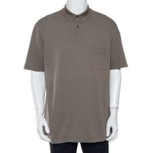 Hermès Olive Green Cotton Pique Polo T-Shirt XXL