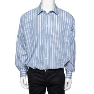 Hermes Blue Striped Cotton Long Sleeve Shirt 3XL